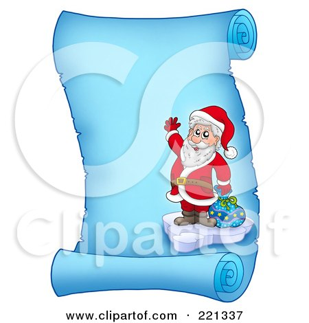 Royalty-Free (RF) Clipart Illustration of Santa Standing On Ice By A Bag And Waving On A Frozen Blue Parchment Scroll Page by visekart