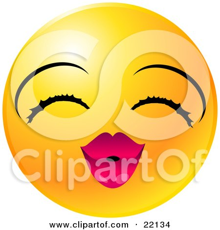 Clipart Illustration of a Yellow Emoticon Face Lady With Eyelashes And Pink Lips, Puckering Up For A Kiss by Tonis Pan