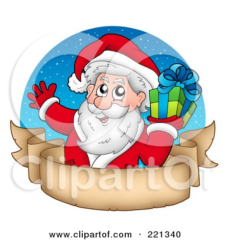Royalty-Free (RF) Clipart Illustration of Santa Holding A Gift Over A Blank Parchment Banner And Blue Circle by visekart