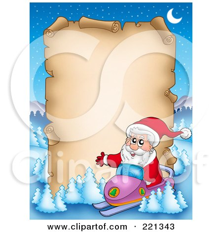 Royalty-Free (RF) Clipart Illustration of Santa On A Snowmobile By A Blank Aged Parchment Sign, Surrounded By Flocked Trees by visekart