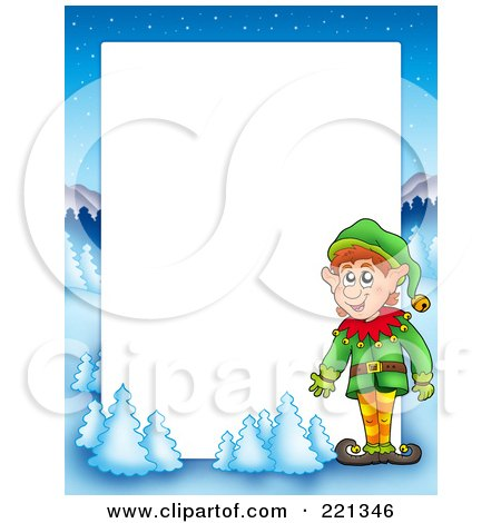Royalty-Free (RF) Clipart Illustration of a Christmas Frame Border Of An Elf With A Winter Landscape Around White Space by visekart