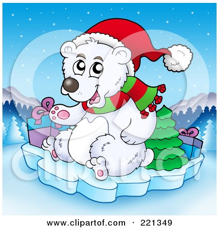 Royalty-Free (RF) Clipart Illustration of a Polar Bear On Ice With A Tree And Christmas Gifts, Over A Winter Landscape by visekart