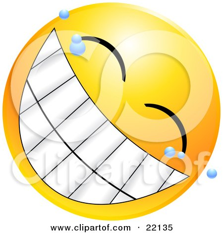 Clipart Illustration of a Yellow Emoticon Face With Bubbles, Grinning With A Giant Toothy Smile by Tonis Pan