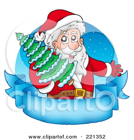 Royalty-Free (RF) Clipart Illustration of Santa Carrying A Tree Over A Blank Frozen Parchment Banner And Blue Circle by visekart