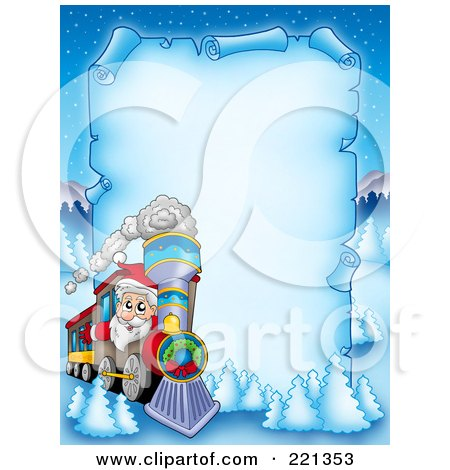 Royalty-Free (RF) Clipart Illustration of Santa Driving A Train By A Frozen Blue Parchment Sign With Snow Flocked Trees by visekart