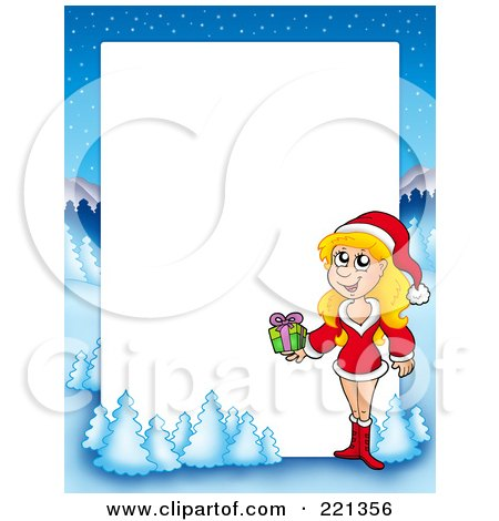 Royalty-Free (RF) Clipart Illustration of a Christmas Frame Border Of A Woman Holding A Gift With A Winter Landscape Around White Space by visekart