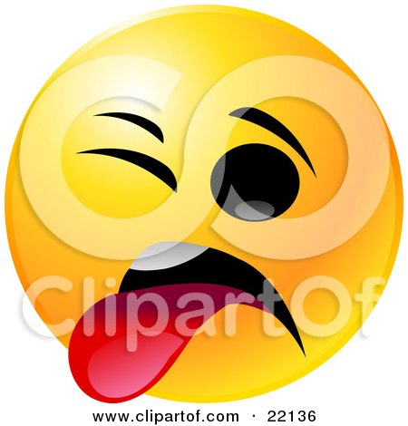 Clipart Illustration of a Yellow Emoticon Face With One Eye Closed, Sticking Its Tongue Out In Disgust by Tonis Pan