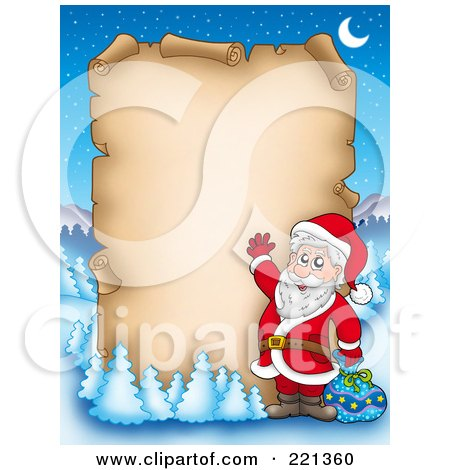 Royalty-Free (RF) Clipart Illustration of Santa Waving In Front Of A Blank Aged Parchment Sign, Surrounded By Flocked Trees by visekart
