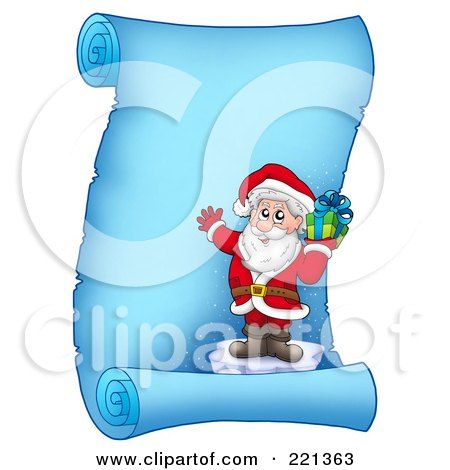 Royalty-Free (RF) Clipart Illustration of Santa Standing On Ice And Holding A Gift On A Frozen Blue Parchment Scroll Page by visekart