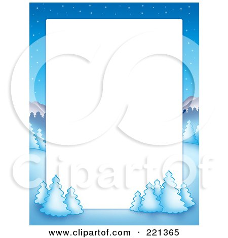 Royalty-Free (RF) Clipart Illustration of a Christmas Frame Border Of A Winter Landscape Around White Space by visekart