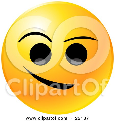 Clipart Illustration of a Yellow Emoticon Face With Big Black Eyes And Eyebrows, With A Crooked Smile by Tonis Pan
