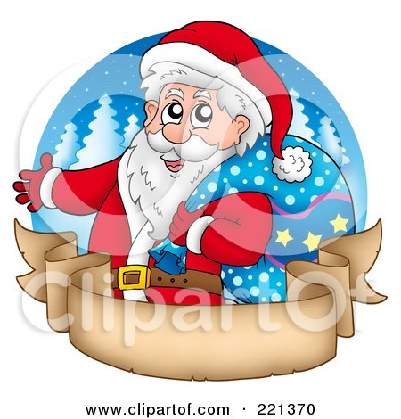 Royalty-Free (RF) Clipart Illustration of Santa Carrying A Sack Over A Blank Parchment Banner And Blue Circle by visekart