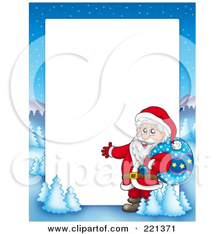 Royalty-Free (RF) Clipart Illustration of a Christmas Frame Border Of Santa Presenting With A Sack With A Winter Landscape Around White Space by visekart