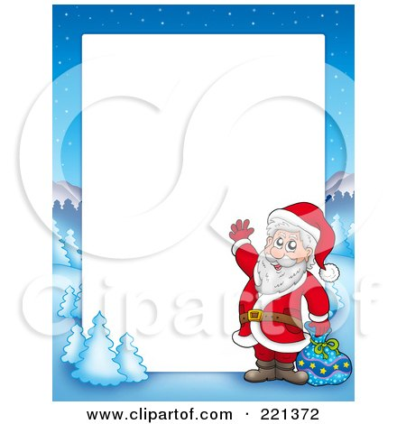 Royalty-Free (RF) Clipart Illustration of a Christmas Frame Border Of Santa Waving With A Sack With A Winter Landscape Around White Space by visekart