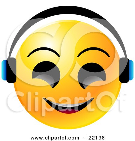 Clipart Illustration of a Yellow Emoticon Face With Big Black Eyes, Smiling And Wearing Headphones, Listenting To Tunes by Tonis Pan