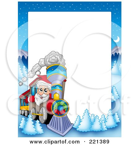Royalty-Free (RF) Clipart Illustration of a Christmas Frame Border Of Santa Driving A Train With A Winter Landscape Around White Space by visekart