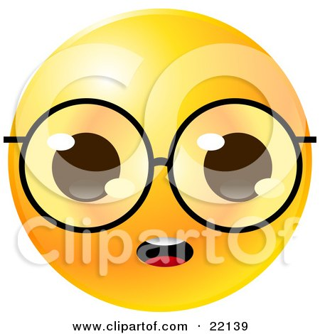 Clipart Illustration Of A Yellow Emoticon Face With Big Glasses Staring With An Open Mouth