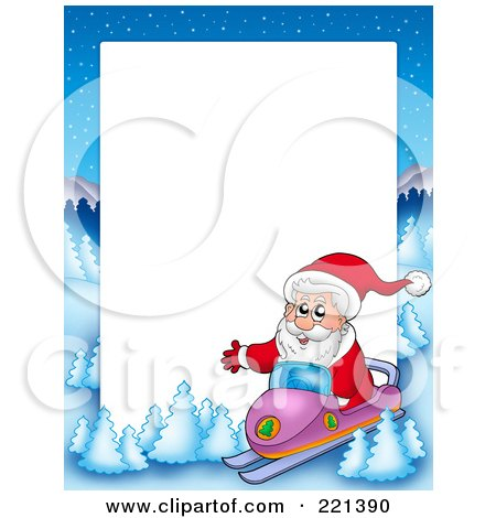 Royalty-Free (RF) Clipart Illustration of a Christmas Frame Border Of Santa Snowmobiling With A Winter Landscape Around White Space by visekart