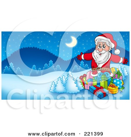 Royalty-Free (RF) Clipart Illustration of Santa Surrounded By Gifts And Flocked Trees In A Winter Landscape by visekart