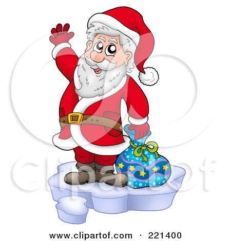 Royalty-Free (RF) Clipart Illustration of Santa Standing On Ice And Waving by visekart
