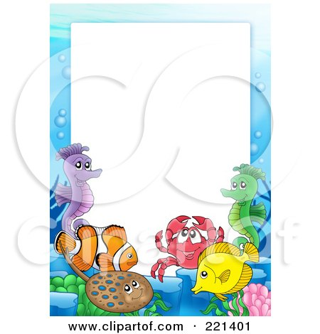 Royalty-Free (RF) Clipart Illustration of a Frame Of Sea Creatures Around White Space - 1 by visekart