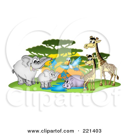 Royalty-Free (RF) Clipart Illustration of a Busy Watering Hole With African Animals By A Tree by visekart
