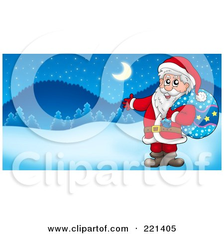 Royalty-Free (RF) Clipart Illustration of Santa Carrying A Sack And Presenting In A Winter Landscape by visekart