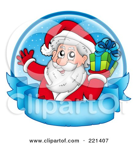 Royalty-Free (RF) Clipart Illustration of Santa Holding A Gift Over A Blue Circle And Frozen Parchment Banner by visekart