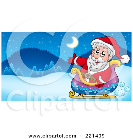 Royalty-Free (RF) Clipart Illustration of Santa Waving And Sitting In A Sleigh In A Winter Landscape by visekart