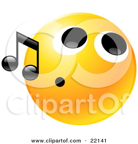 Clipart Illustration of a Yellow Emoticon Face With A Tight Mouth, Whistling Tunes by Tonis Pan