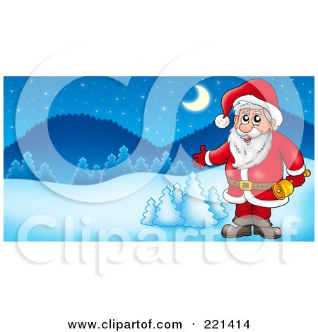 Royalty-Free (RF) Clipart Illustration of Santa Holding A Bell And Presenting In A Winter Landscape by visekart
