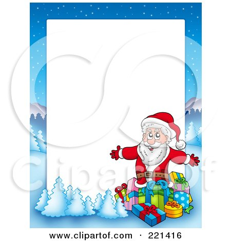 Royalty-Free (RF) Clipart Illustration of a Christmas Frame Border Of Santa Surrounded By Gifts With A Winter Landscape Around White Space by visekart