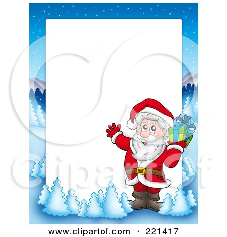 Royalty-Free (RF) Clipart Illustration of a Christmas Frame Border Of Santa And A Present With A Winter Landscape Around White Space by visekart