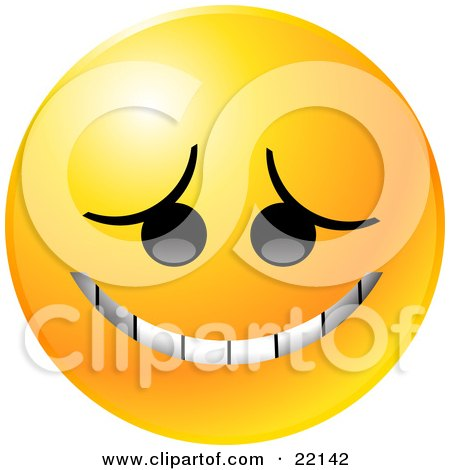 Clipart Illustration of a Yellow Emoticon Face Grinning In Embarassment by Tonis Pan