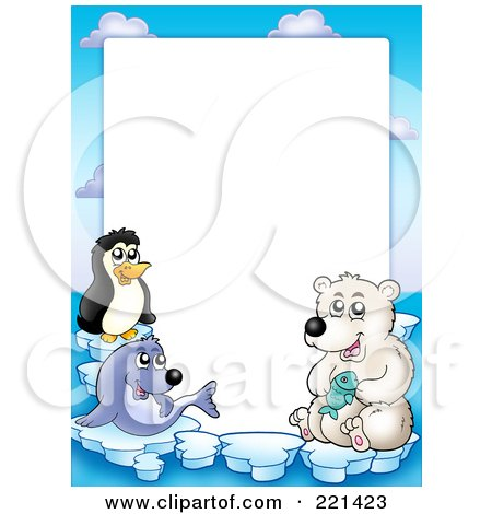 Royalty-Free (RF) Clipart Illustration of a Border Of A Seal, Penguin And Polar Bear Around White Space by visekart