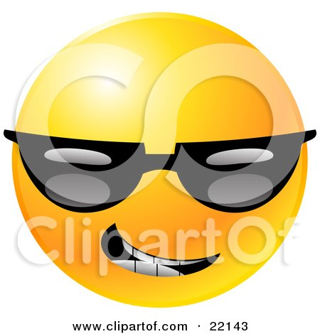 Clipart Illustration of a Yellow Emoticon Face Grinning And Wearing Dark Sunglasses by Tonis Pan