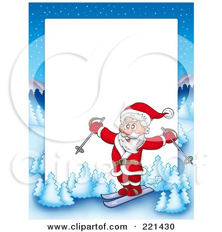 Royalty-Free (RF) Clipart Illustration of a Christmas Frame Border Of Santa Skiing With A Winter Landscape Around White Space by visekart