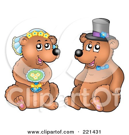 Royalty-Free (RF) Clipart Illustration of a Bear Bride And Groom by visekart
