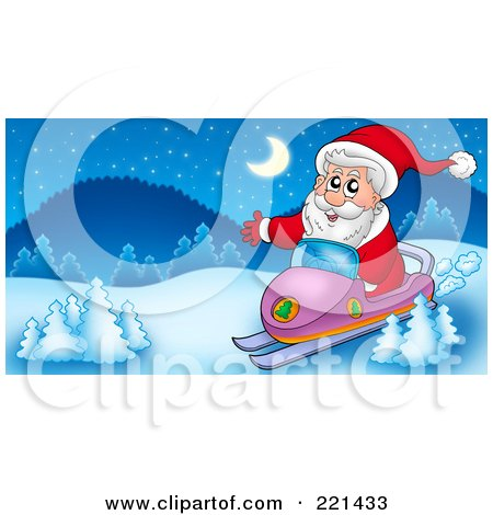 Royalty-Free (RF) Clipart Illustration of Santa On A Snowmobile In A Winter Landscape by visekart
