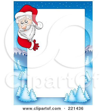 Royalty-Free (RF) Clipart Illustration of a Christmas Frame Border Of Santa Around A Winter Landscape Around White Space by visekart