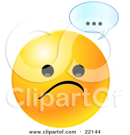Clipart Illustration of a Yellow Emoticon Face With A Sad Frown And A Text Bubble With Dots by Tonis Pan