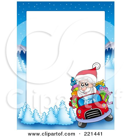 Royalty-Free (RF) Clipart Illustration of a Christmas Frame Border Of Santa Driving With A Winter Landscape Around White Space by visekart