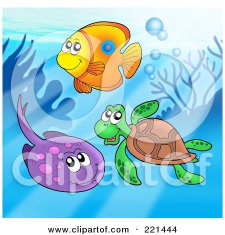 Royalty-Free (RF) Clipart Illustration of a Fish, Sea Turtle And Ray By A Reef by visekart