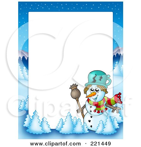 Royalty-Free (RF) Clipart Illustration of a Christmas Frame Border Of A Winter Landscape And Snowman Around White Space by visekart