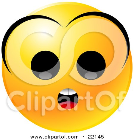 Clipart Illustration of a Yellow Emoticon Face With A Surprised Expression And Bangs by Tonis Pan