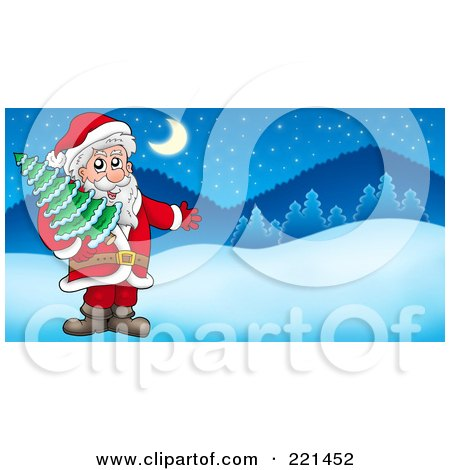Royalty-Free (RF) Clipart Illustration of Santa Carrying A Tree And Presenting In A Winter Landscape by visekart
