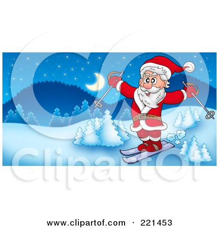 Royalty-Free (RF) Clipart Illustration of Santa Skiing In A Winter Landscape by visekart