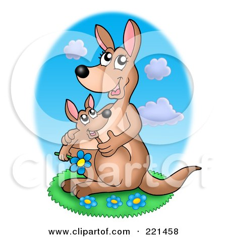 Royalty-Free (RF) Clipart Illustration of a Mother And Baby Kangaroo With Blue Daisies by visekart