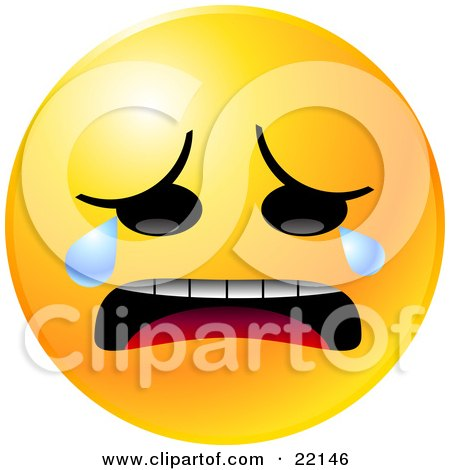 Clipart Illustration of a Yellow Emoticon Face Crying Tears Of Sadness And Depression by Tonis Pan