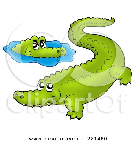Royalty-Free (RF) Clipart Illustration of Two Crocodiles ...
